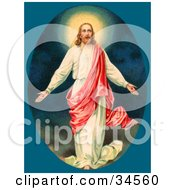 Clipart Illustration Of Jesus Christ Resurrected by OldPixels