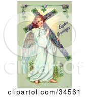 Clipart Illustration Of A Victorian Angel Carrying An Easter Cross