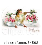 Cute Chick Wearing A Bonnet Carrying An Easter Egg And Baskets Of Pink Roses In Planters On A Pole