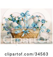 White Chicken Eggs And Blue Forget Me Not Flowers In An Easter Basket