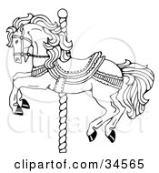 Clipart Illustration Of A Carousel Horse On A Spiraling Pole by C Charley-Franzwa #COLLC34565-0078