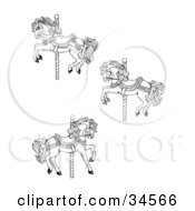 Clipart Illustration Of A Set Of Three Carousel Horses