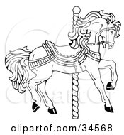 Clipart Illustration Of A Carousel Horse Facing Right On A Spiral Pole by C Charley-Franzwa #COLLC34568-0078