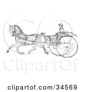 Clipart Illustration Of A Young Lady Holding The Reins To A Horse On A Buggy