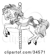 Clipart Illustration Of A Carousel Horse Decorated In Bows And Flowers by C Charley-Franzwa #COLLC34571-0078