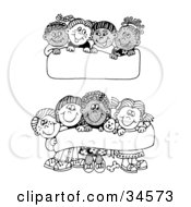 Clipart Illustration Of Two Scenes Of Diverse Children Holding Up Blank Signs And Banners