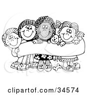 Clipart Illustration Of Four Caucasian And African American Children Smiling And Holding Up A Sign With A Puppy by C Charley-Franzwa #COLLC34574-0078