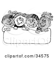 Clipart Illustration Of A Group Of Diverse School Children Smiling At Each Other While Holding Up A Blank Sign by C Charley-Franzwa