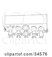 Group Of Happy Stick Children Holding Hands And Carrying A Blank Banner