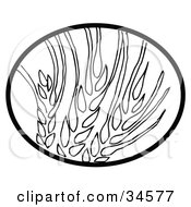 Clipart Illustration Of A Black Oval Around Wheat by C Charley-Franzwa