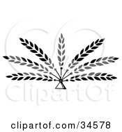 Clipart Illustration Of Seven Branches Of Wheat Emerging From A Triangle by C Charley-Franzwa