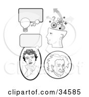 Set Of Educational Icons With Thought Bubbles A Girl Thinking Genius Head And Albert Einstein