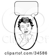 Clipart Illustration Of A Smart Girl In Thought Touching Her Lip A Bubble Above Her Head
