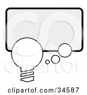 Clipart Illustration Of A Single Lightbulb With A Thought Bubble