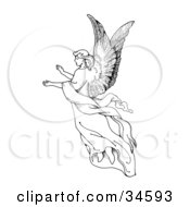 Clipart Illustration Of A Graceful Female Angel With Large Wings Floating Through The Air With Her Arms Out