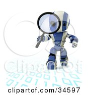 Clipart Illustration Of A 3D Blue And White AO Maru Robot Walking On And Inspecting Binary Code With A Magnifying Glass