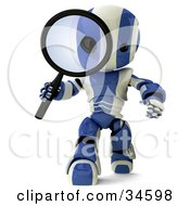 Clipart Illustration Of A 3d Blue And White AO Maru Robot Researching And Peering Through A Magnifying Glass