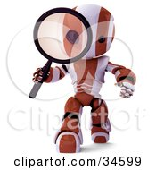 Clipart Illustration Of A 3d Orange And White AO Maru Robot Researching And Peering Through A Magnifying Glass