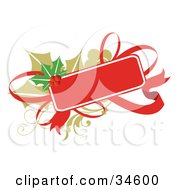 Clipart Illustration Of A Blank Gift Tag With A Red Ribbon Over Holly by OnFocusMedia