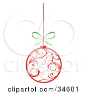 Clipart Illustration Of A White Christmas Ornament With Red Swirl Patterns Suspended From A String With A Bow by OnFocusMedia #COLLC34601-0049