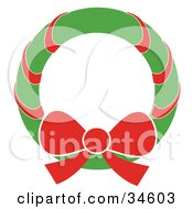 Clipart Illustration Of A Green Christmas Wreath With A Red Bow And Ribbon by OnFocusMedia