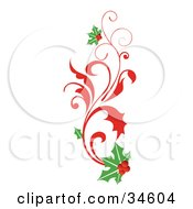 Clipart Illustration Of An Elegant Christmas Scroll With Holly by OnFocusMedia