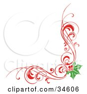 Clipart Illustration Of A Christmas Corner Element Of Red Scrolls And Holly by OnFocusMedia