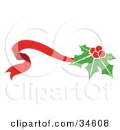 Clipart Illustration Of Holly On A Waving Red Ribbon by OnFocusMedia