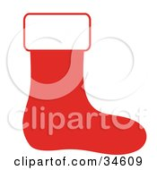 Red Christmas Stocking With A White Top