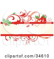 Clipart Illustration Of A Beige Text Box Bordered In Holly Leaves And Red Scrolling Vines by OnFocusMedia