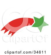 Clipart Illustration Of A Green Shooting Star With A Red Trail by OnFocusMedia
