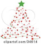 Green Star Atop A Red Starry Christmas Tree With A Green Garland