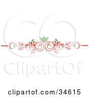Clipart Illustration Of A Scrolled Red Christmas Flourish With Holly Leaves And Berries by OnFocusMedia