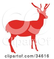 Clipart Illustration Of A Red Silhouetted Reindeer With Antlers by OnFocusMedia