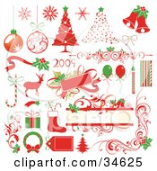 Clipart Illustration Of A Set Of Green And Red New Year And Christmas Icons by OnFocusMedia
