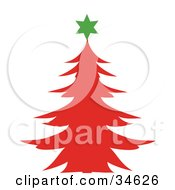 Clipart Illustration Of A Green Star Atop A Red Silhouetted Christmas Tree by OnFocusMedia
