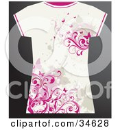 Clipart Illustration Of A White Grunge Styled Females T Shirt With Pink Butterflies And Vines And Beige Splatters