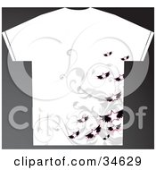 Clipart Illustration Of A White Grunge Styled Mans T Shirt With Flying Stars Over Gray Vines