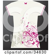 Clipart Illustration Of A White Grunge Styled Females T Shirt With Tan Splatters And Pink Butterflies And Vines