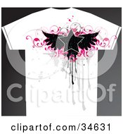 Clipart Illustration Of A Grunge Styled Mans T Shirt With A Black Winged Star Over Pink Vines And Gray Drips And Splatters