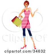 Clipart Illustration Of A Stylish Caucasian Red Haired Woman In A Pink Striped Dress Carrying Shopping Bags
