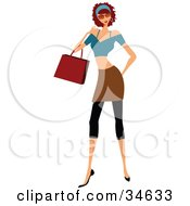 Clipart Illustration Of A Stylish Caucasian Lady With Curly Hair Carrying A Purse While Shopping