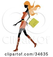 Sexy Silhouetted Woman With Long Orange Hair Walking Past With A Purse On Her Arm