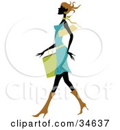Clipart Illustration Of A Sexy Silhouetted Woman With Short Brown Hair Wearing A Blue Dress Walking Past With A Shopping Bag On Her Arm