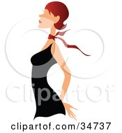 Clipart Illustration Of A Faceless Caucasian Woman With Long Red Hair Wearing A Red Ribbon Around Her Neck And A Little Black Dress