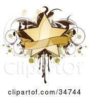 Clipart Illustration Of A Grungy Beige Star And Blank Banner Over A Brown Vine And Green And Beige Splatters And Drips