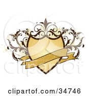 Clipart Illustration Of A Blank Banner Over A Scratched Grungy Shield Adorned With Brown Vines Over A White Background With Beige Splatters