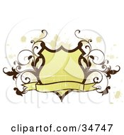 Clipart Illustration Of A Yellow Grungy Shield With A Wavy Blank Banner And Brown Scrolling Vines Over A White Background With Beige Splatters
