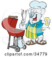 Clipart Illustration Of A Happy Koala Holding A Beer Wearing An Apron And Chefs Hat And Cooking On A Bbq Grill by Dennis Holmes Designs