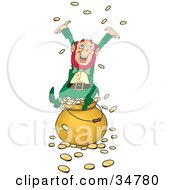 Greedy And Rich Leprechaun Sitting Atop A Pot Of Gold Tossing Coins Into The Air